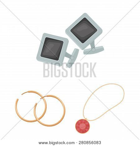Isolated object of jewelery and necklace sign. Collection of jewelery and pendent stock vector illustration. poster