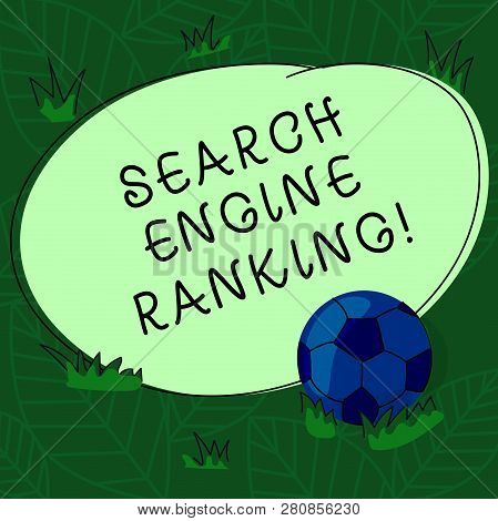 Handwriting Text Search Engine Ranking. Concept Meaning Rank At Which Site Appears In The Search Eng