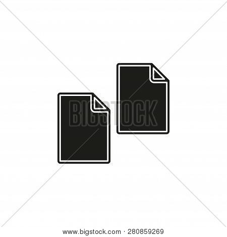 Copy or Duplicate document icon - web page symbol - office file format. Flat pictogram - simple icon poster