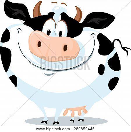 The Cute Fat Cow Farm Animal Vector Cartoon Illustration
