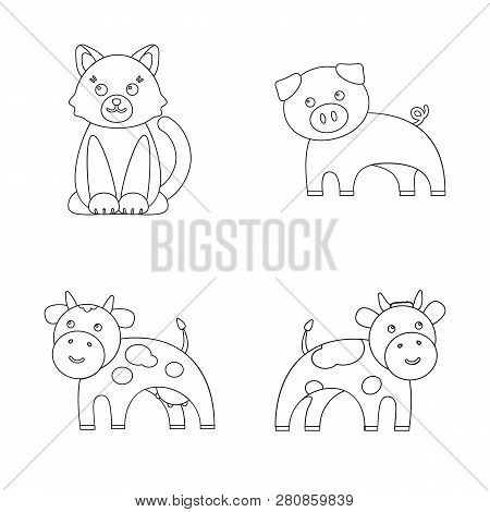 Isolated Object Of Animal And Habitat Logo. Collection Of Animal And Farm Stock Vector Illustration.