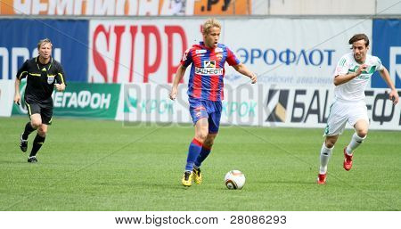 MOSCOW - MAY 10: CSKA's Keisuke Honda (C) in action during their team's Russian football championship game CSKA (Moscow) vs. Terek (Grozny) - (4:1), May 10, 2010 in Moscow, Russia.