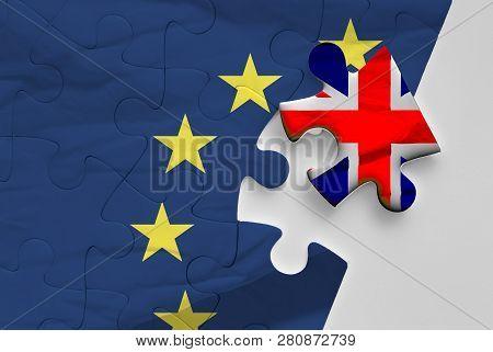 Brexit. Union Jack Flag And European Union Flags Form A Political Puzzle