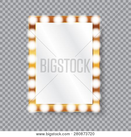 Rectangle Vanity Mirror With Light Bulbs. Golden Frame. Isolated Vector Illustration On A Transparen