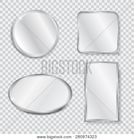 Set Of Realistic Geometrical Mirrors. Chrome Frame. Vector Illustration Of Different Forms With Blur