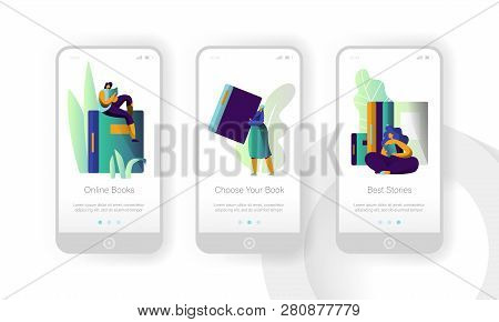 Online Book Library Modern Education Mobile App Page Onboard Screen Set. Digital Dictionary Reader.