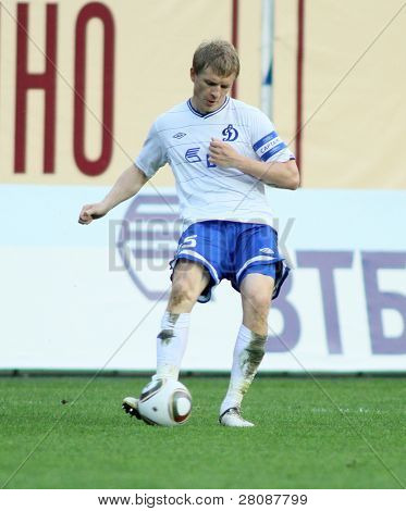 MOSCOW - MAY 15: Dinamo's defender Denis Kolodin in a game of the 11th round of Russian Football Premier League - Dinamo Moscow vs. Alania Vladikavkaz - 2:0, May 15, 2010 in Moscow, Russia.