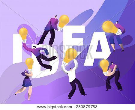 Creative Idea Abstract Bulb Character Motivation Banner. Business Brainstorm Communication Conceptua