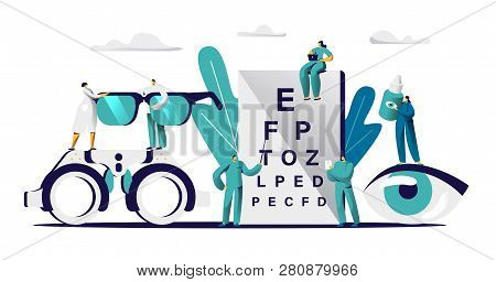 Ophthalmologist Doctor Check Eyesight For Eyeglasses Diopter. Male Oculist With Pointer Checkup Eye