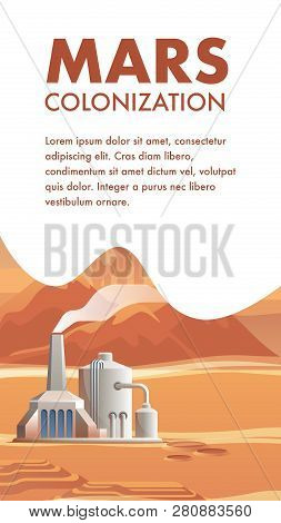 Vector Technical Structure Life Support For Colony. Banner Illustration Mars Colonization. Structure