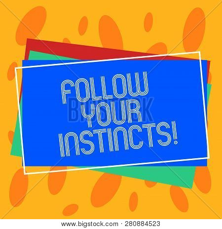 Conceptual hand writing showing Follow Your Instincts. Business photo showcasing listen to your intuition and listen to your heart Pile of Rectangular Outlined Different Color Construct Paper. poster