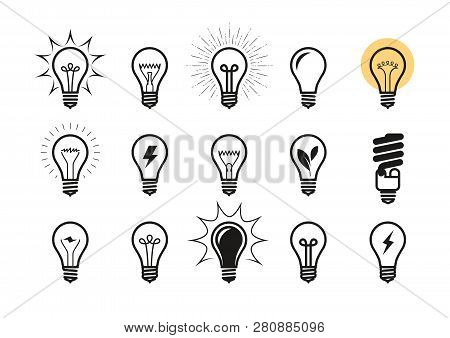 Lightbulb Icon Set. Light Bulb, Electricity, Energy Symbol Or Label. Vector Illustration