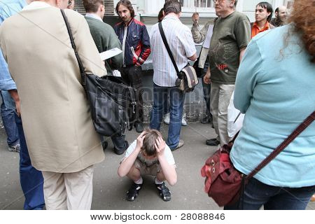 MOSCOW - JUNE 10: People perturbed by the actions of the police in breaking up rallies, filed a complaint in the police department