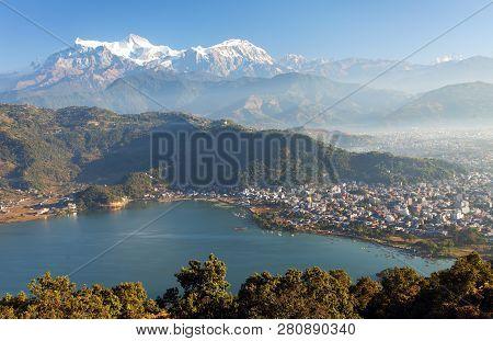 Panoramic View Of Mount Annapurna, Himalayan Range, Pokhara And Phewa Lake, Pokhara Valley, Nepal Hi