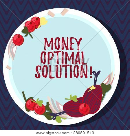 Text Sign Showing Money Optimal Solution. Conceptual Photo The Best Solution For A Company To Solve
