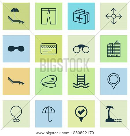 Tourism Icons Set With Medicine, Seaside Place, Sunglasses And Other Chaise Longue Elements. Isolate