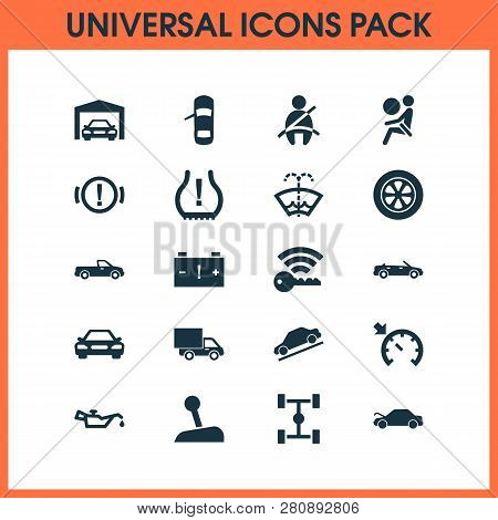 Auto Icons Set With Airbag, Caution, Washer Fluid And Other Carriage Elements. Isolated Vector Illus