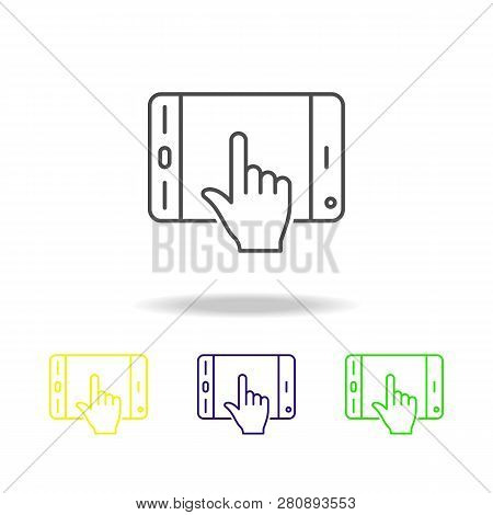 Click, Mobile, Touchpad, Touch, Colored Outline Icons. Element Of Simple Icon For Websites. Signs An