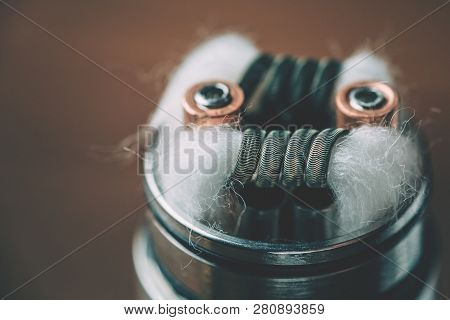 Vape Rda Device With Alien Clapton Coils From Ni-80 And Cotton For Dripping With E-liquid And Vaping