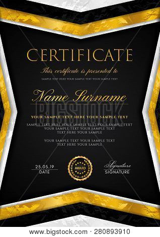Certificate Template With Geometry Silver And Golden Frame With Gold Badge. Black Background Design