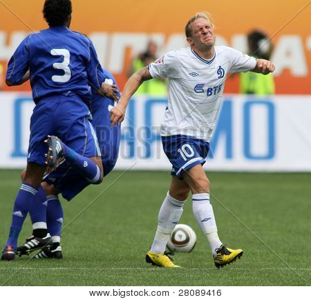 MOSCOW - JULY 3: Dynamo Moscow's forward Andrei Voronin (right) in the VTB Lev Yashin Cup: FC Dynamo Moscow vs. FC Dynamo Kyiv (2:0), July 3, 2010 in Moscow, Russia.