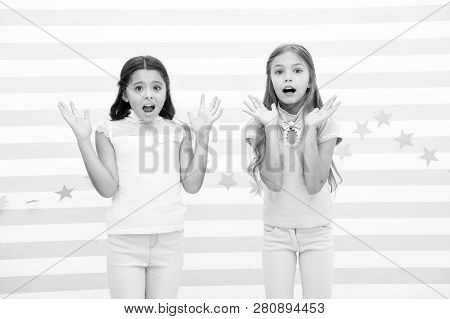 Thrilled Moment From Childhood. Kids Schoolgirls Preteens Shocked. Girls Surprised Shocked Faces Thr