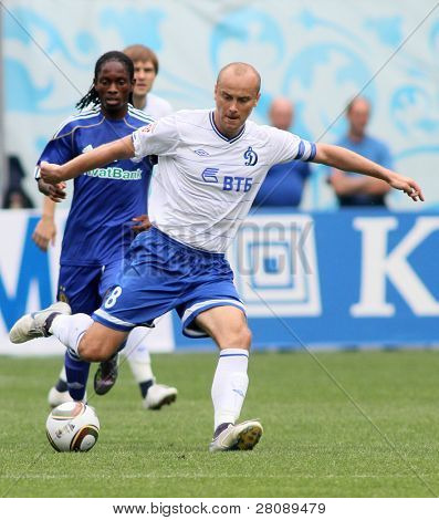 MOSCOW - JULY 3: Dinamo's midfielder Dmitry Hohlov (front) in the VTB Lev Yashin Cup: FC Dynamo Moscow vs. FC Dynamo Kyiv (2:0), July 3, 2010 in Moscow, Russia.