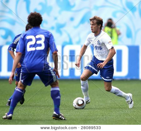 MOSCOW - JULY 3: Dynamo Moscow's midfielder Dmitry Kombarov (right) in the VTB Lev Yashin Cup: FC Dynamo Moscow vs. FC Dynamo Kyiv (2:0), July 3, 2010 in Moscow, Russia.