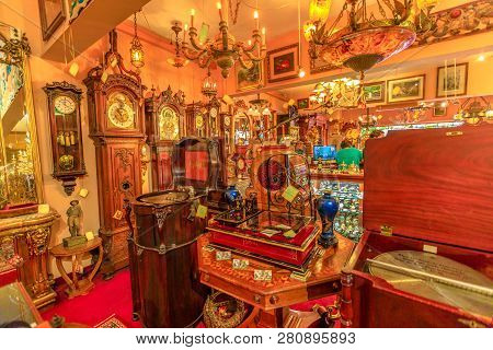 Solvang, California, United States - August 10, 2018: Renaissance Antiques In Danish Village, One Of