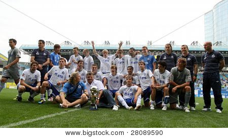 MOSCOW - JULY 3: Team Dynamo Moscow's after winning the match the VTB Lev Yashin Cup: FC Dynamo Moscow vs. FC Dynamo Kyiv (2:0), July 3, 2010 in Moscow, Russia.