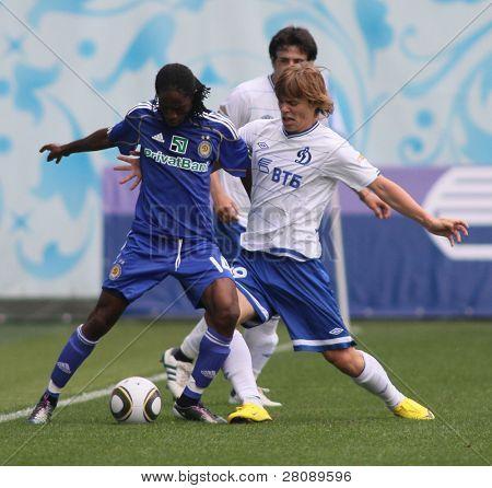 MOSCOW - JULY 3: Dynamo Kyiv's midfielder Frank Temile (L) and Dynamo Moscow forward Aleksandr Kokorin (R) in the VTB Lev Yashin Cup: Dynamo Moscow vs. Dynamo Kyiv, July 3, 2010 in Moscow, Russia.