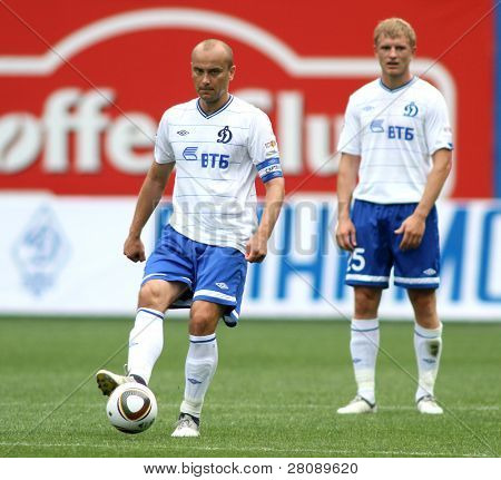 MOSCOW - JULY 3: Dinamo's midfielder Dmitry Hohlov (left) in the VTB Lev Yashin Cup: FC Dynamo Moscow vs. FC Dynamo Kyiv (2:0), July 3, 2010 in Moscow, Russia.