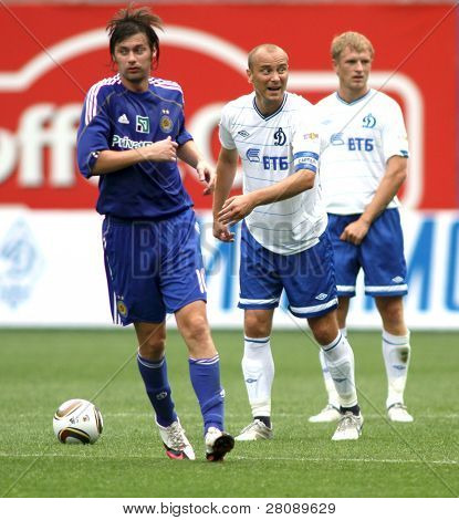MOSCOW - JULY 3: Dinamo's midfielder Dmitry Hohlov (center) in the VTB Lev Yashin Cup: FC Dynamo Moscow vs. FC Dynamo Kyiv (2:0), July 3, 2010 in Moscow, Russia.