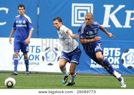 MOSCOW - JULY 3: Dynamo Moscow midfielder Igor Semshov (L) fnd Dynamo Kyiv defender Evgeniy Hacheridi (R) in the VTB Lev Yashin Cup: Dynamo Moscow vs. Dynamo Kyiv, July 3, 2010 in Moscow, Russia.