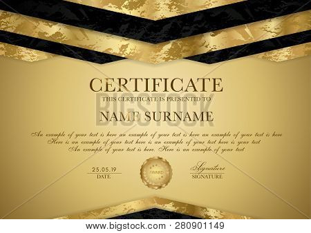 Certificate Template With Geometry Frame And Gold Badge. Gold Background Design For Diploma, Certifi