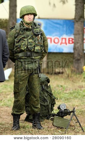 KOSTROMA REGION - AUGUST 26: Soldier on the Command post exercises with 98-th Guards Airborne Division, August 26, 2010 in Kostroma region, Russia.