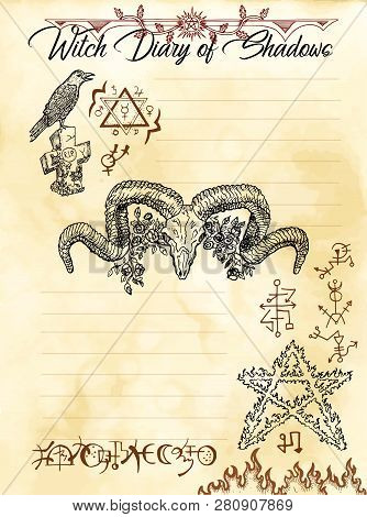 Witch Diary Page 5 Of 31 With Devil, Pentagram, Crow And Evil Symbols. Magic Wiccan Old Book With Oc