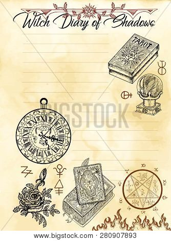 Witch Diary Page 4 Of 31 With Spell Book, Tarot Cards, Pentagram And Symbols. Magic Wiccan Old Book