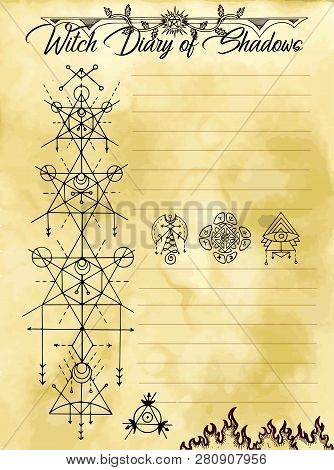 Witch Diary Page 14 Of 31 With Sacred Geometry Symbols And Occult Seals. Magic Wiccan Old Book With