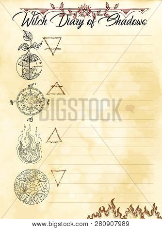 Witch Diary Page 20 Of 31 With Four Nature Elements Water, Earth, Fire And Air. Magic Wiccan Old Boo