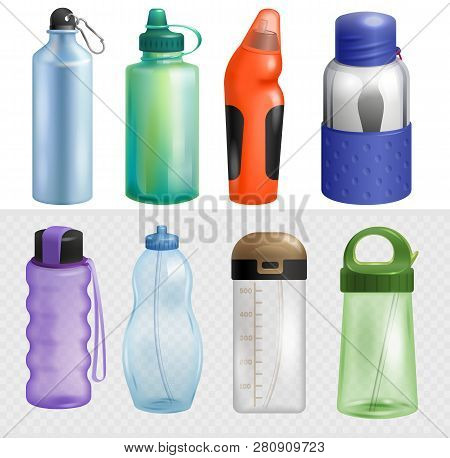 Sport Bottle Vector Sportive Water Bottled Drink Thermo And Fitness Plastic Energy Beverage With Str