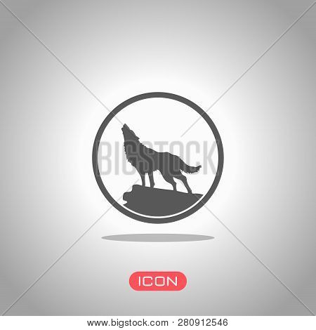 Wolf. Simple Icon. Icon Under Spotlight. Gray Background
