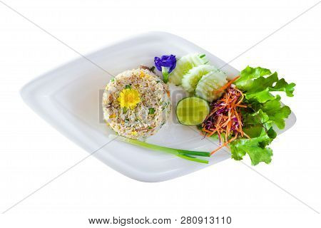 Fried Rice With Vegetables Isolated On White Background, Thai Food.