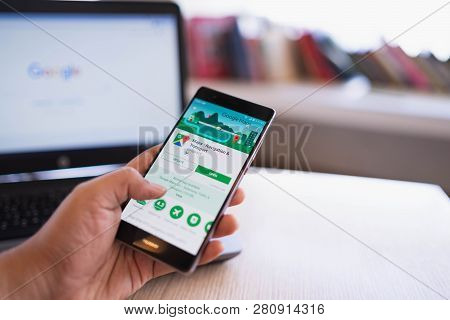 Chiang Mai, Thailand - June 03,2018: Man Holding Huawei With Google Maps On The Screen.google Maps I
