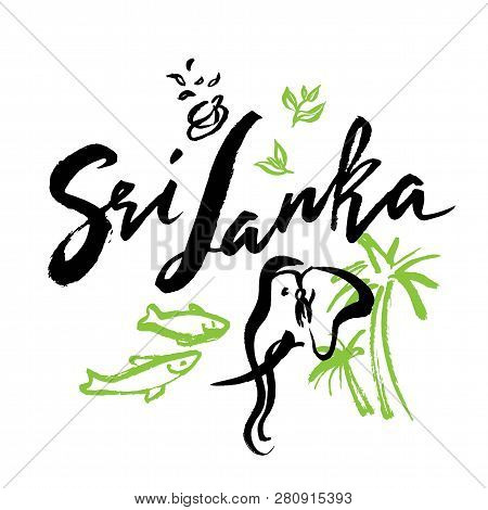Set With Iconic Symbols In Calligraphic Style Of The Sri Lanka. Calligraphy Sri Lanka, Vector. Hand-