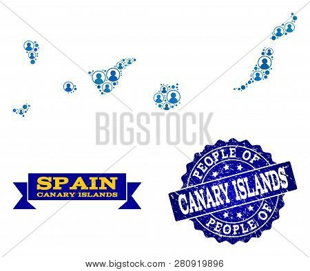 People Collage Of Blue Population Map Of Canary Islands And Rubber Seal Stamp. Vector Seal With Scra