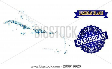 People Composition Of Blue Population Map Of Caribbean Islands And Rubber Stamp. Vector Watermark Wi
