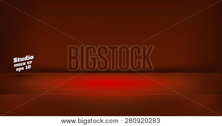 Vector,empty Neon Style Dark Red Color Studio Table Room Background ,product Display With Copy Space