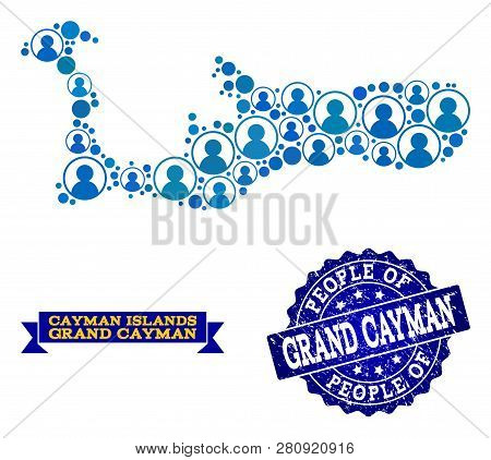 People Composition Of Blue Population Map Of Grand Cayman Island And Rubber Stamp. Vector Watermark