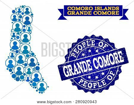 People Composition Of Blue Population Map Of Grande Comore Island And Rubber Seal. Vector Seal With